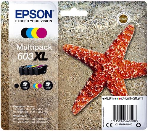 INKCARTRIDGE EPSON 603XL T03A6 ZWART + 3 KLEUREN 4 Stuk