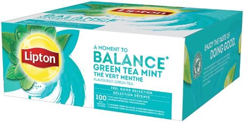 Thee Lipton Balance Green tea mint 100stuks 100 Stuk