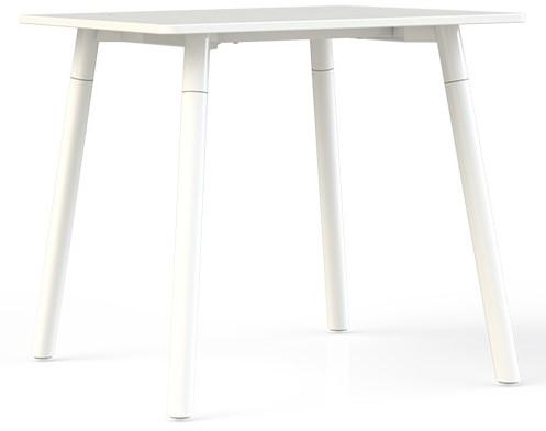 Corner tafel vierkant 80 x 80 cm, op 4-poots metalen frame Ø 5 cm, hoogte 75 cm.