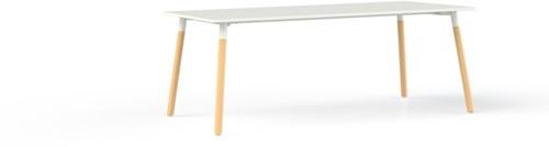 Corner tafel recht 240 x 100 cm, op 4-poots massief blank beuken onderstel Ø 5 cm, hoogte 75 cm