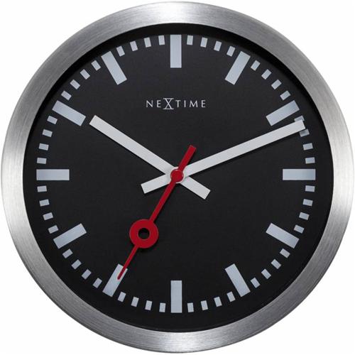 tafel/wandklok NeXtime dia. 19 stat. aluminium zwart wijzerwit - uurwerk stil