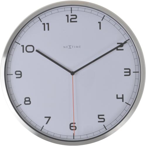 wandklok NeXtime dia. 35x4.2cm aluminium, wit, 'Company'